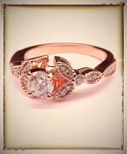 Rustic Pink Gold Floral Vintage Diamond Engagement Ring