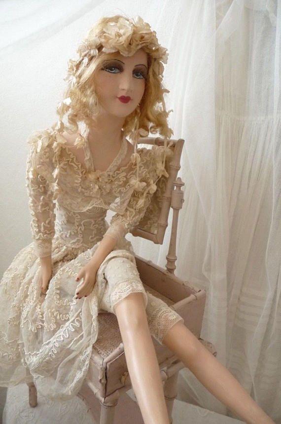 Boudoir Doll in Black Flapper Dress with Fur Stole