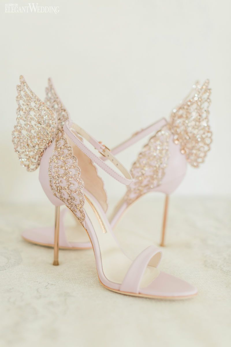 Pink Whimsical Wedding Inspiration Elegantwedding Ca Butterfly Shoes Sparkly Wedding Shoes Wedding Heels