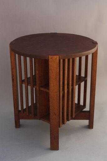 8005 Round Arts And Crafts Table With Revolving Bookcase Circa