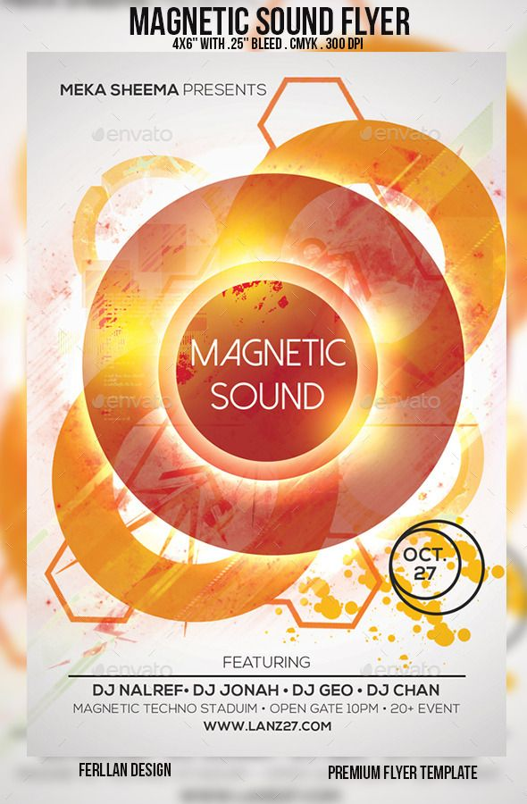 Magnetic Sound Flyer — Photoshop PSD #sound #abstract • Available here → https://graphicriver.net/item/magnetic-sound-flyer/9294901?ref=pxcr