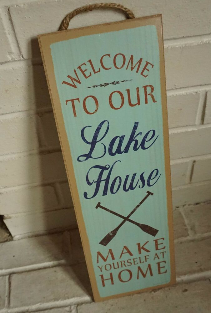 Photo of WELCOME TO OUR LAKE HOUSE SIGN Cabin Lodge Canoe Boating Oars Log Home Decor NEW  | eBay