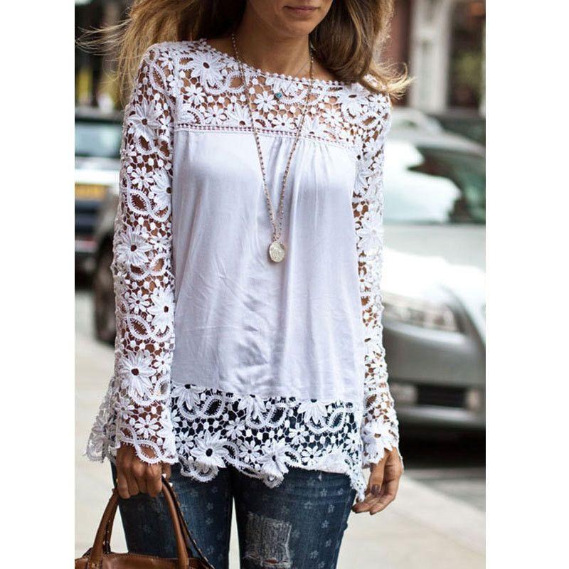 Blusa Blanca para Damas con Mangas de Estilo Crochet – Tela y Estilo ... 8ffaebbc5b1