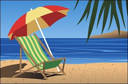 Beach Scene Clip Art Chair Vector Landscape Free For