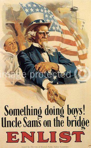 Something Doing Boys WWi Vintage US Propaganda Poster