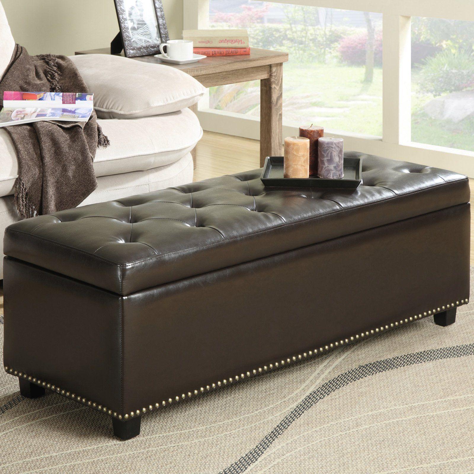Simpli Home Hamilton Bonded Leather Storage Ottoman Dark Brown 219 99 Hayneedle