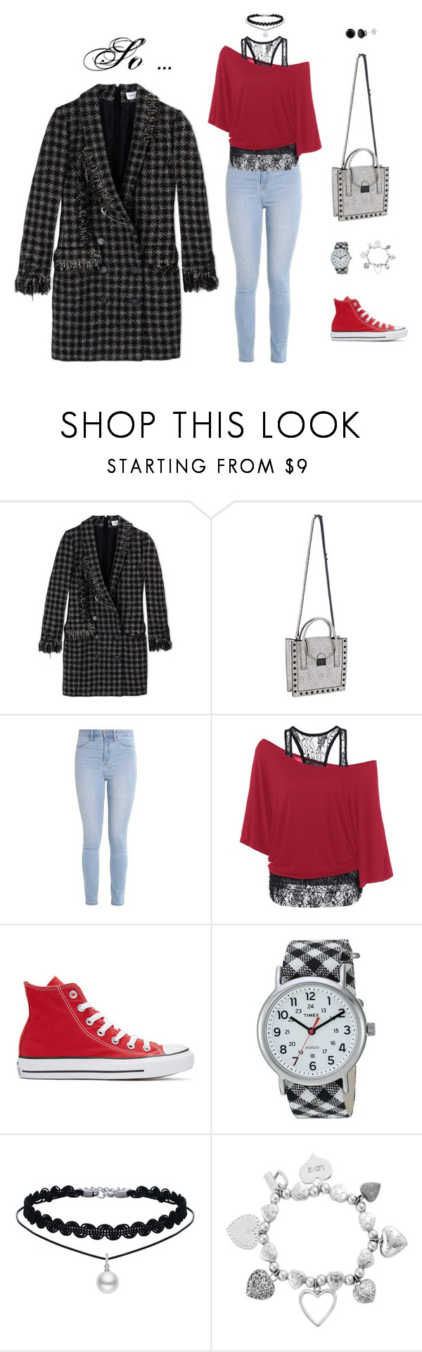 """so .."" by leina-elansary on Polyvore featuring Loeffler Randall, Hollister Co., Converse, Timex and ChloBo"