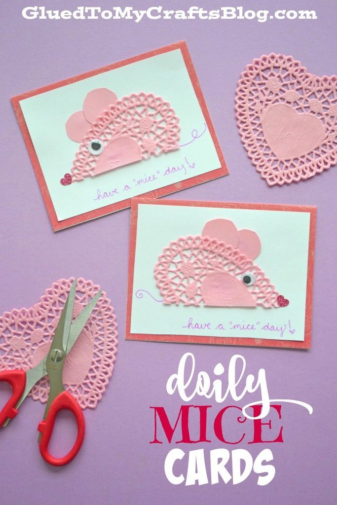 Have A MICE Day   Doily Mice Cards Mice, Valentine Crafts And Craft   Kids