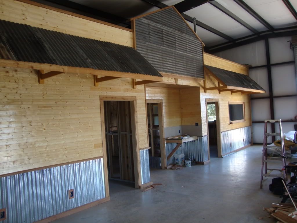 Texas Rustic Kitchen Ideas | How Did You Trim Your Corrugated Metal  Wainscoating?   The · Garage IdeasWall IdeasInterior ...
