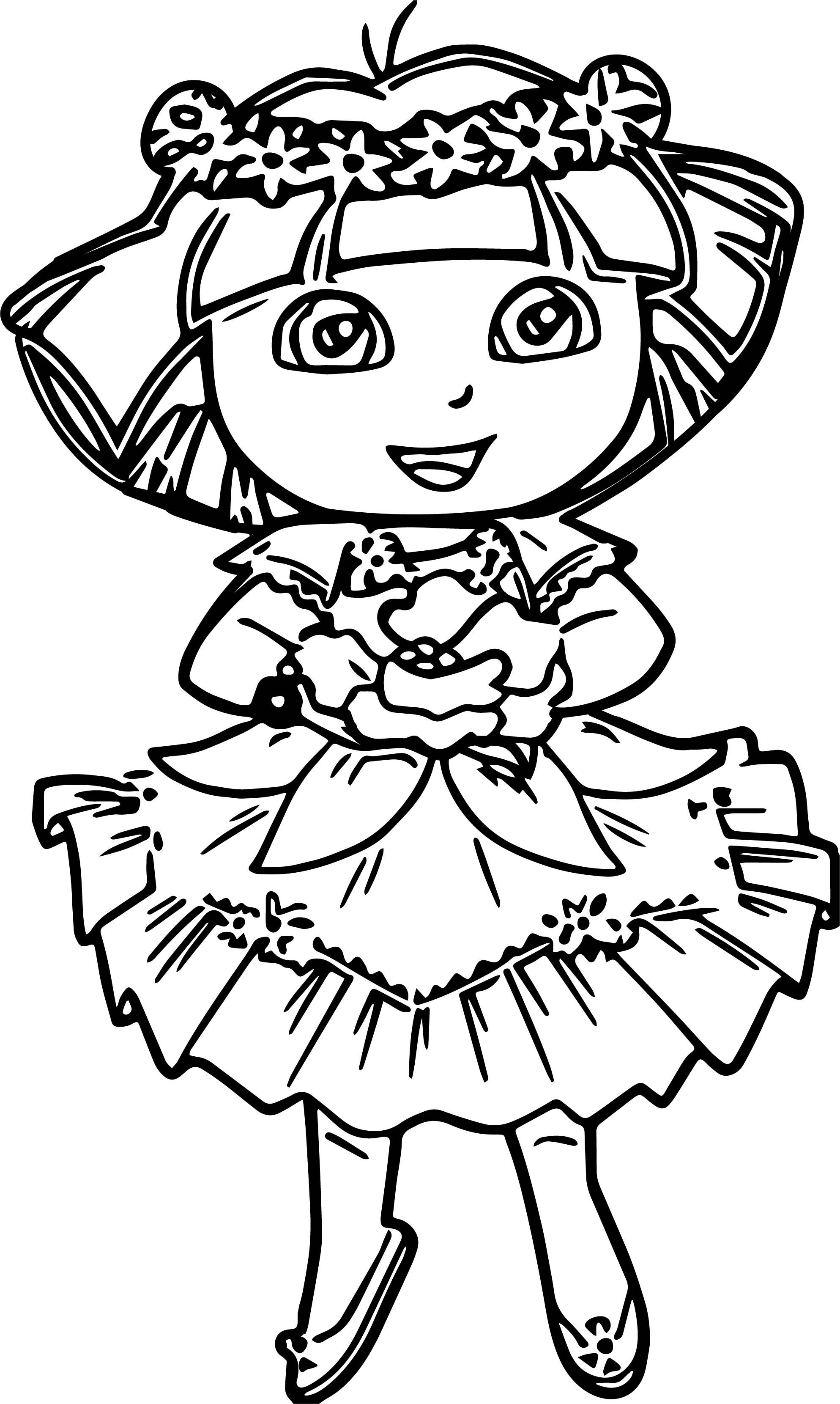 Dora In Enchanted Forest Dress Coloring Pages   wecoloringpage ...