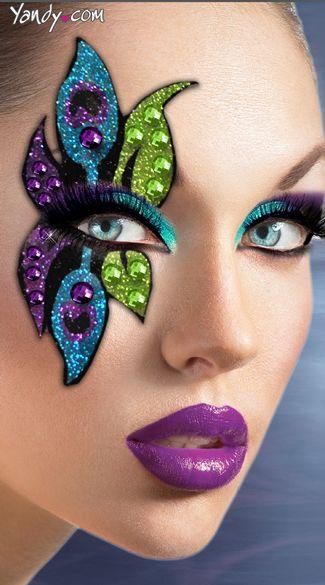 Peacock Half Mask Kit Makeup макияж макияж глаз și золотой макияж