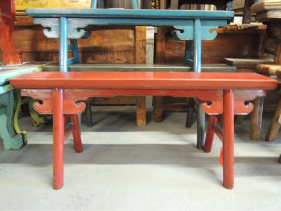 Phenomenal Chinese Bench In Reddish Orange Los Angeles By Modernredla Gmtry Best Dining Table And Chair Ideas Images Gmtryco
