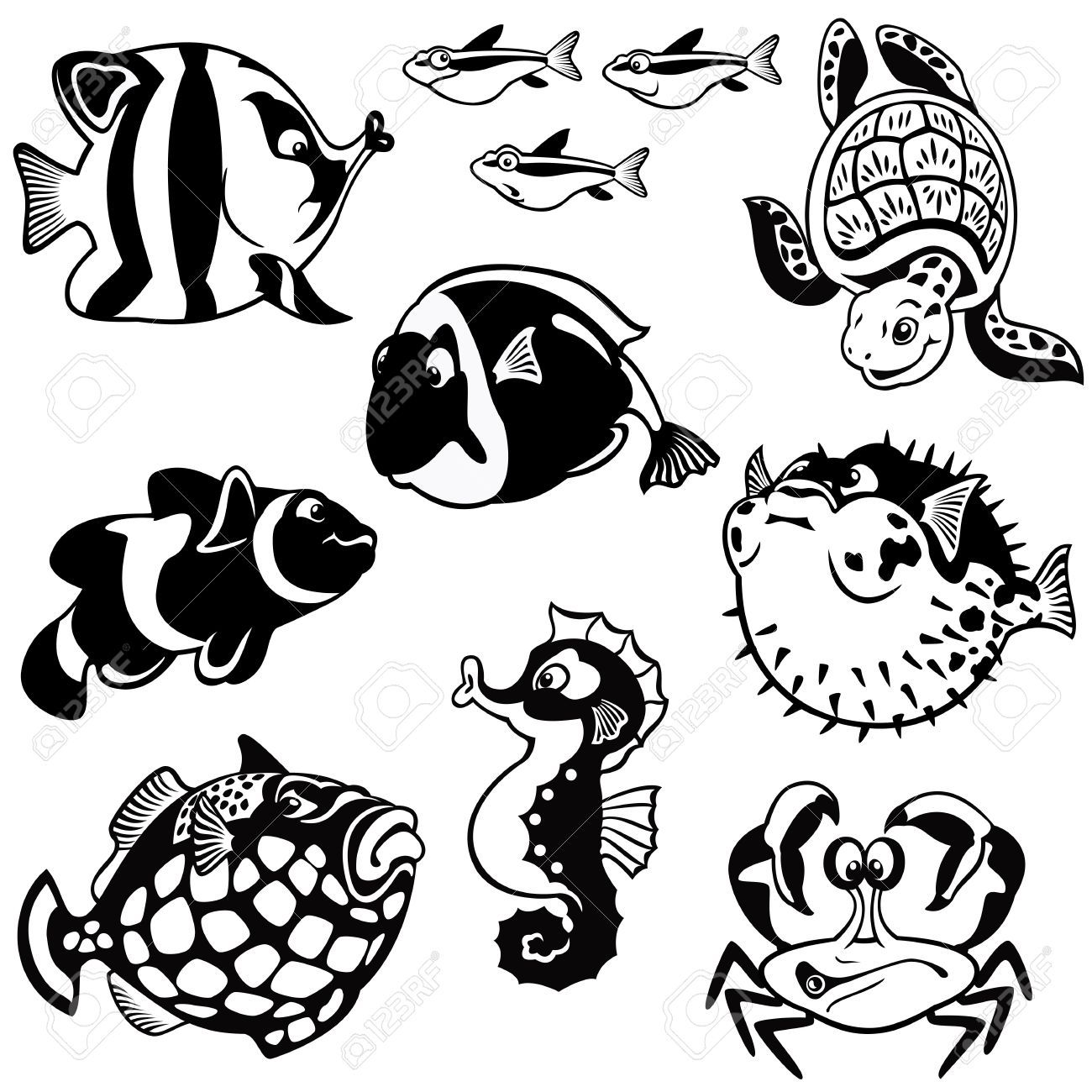 Peces y animales marinos, vector set, fotos en blanco y negro ...