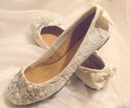TWINKLE TOES Lace Crystal Flat Wedding Bridal Shoes