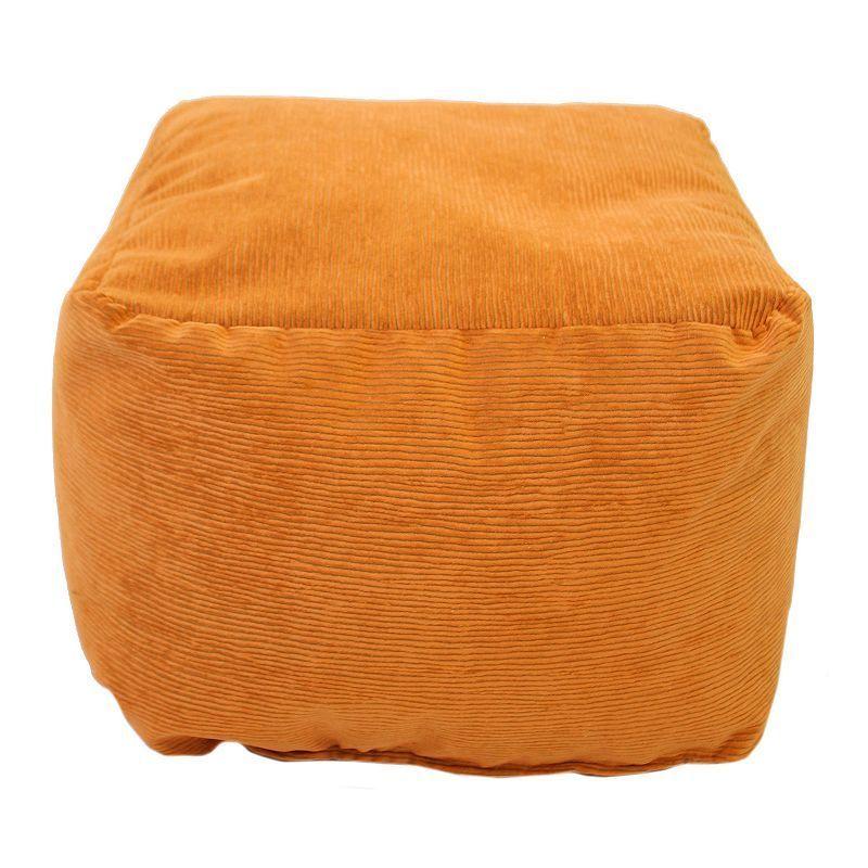 Small Microfiber Corduroy Bean Bag Ottoman, Orange