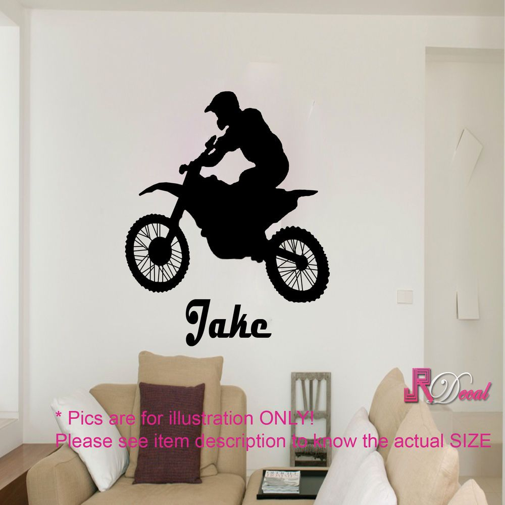 Motorcycle motocross stunt action vinyl wall art sticker boy bedroom moto bike
