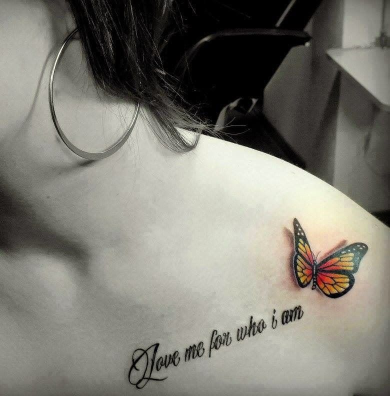 Realistic Small Butterfly Wording Tattoo On Collarbone For Girls Butterfly Tattoo Designs Butterfly Tattoo 3d Butterfly Tattoo