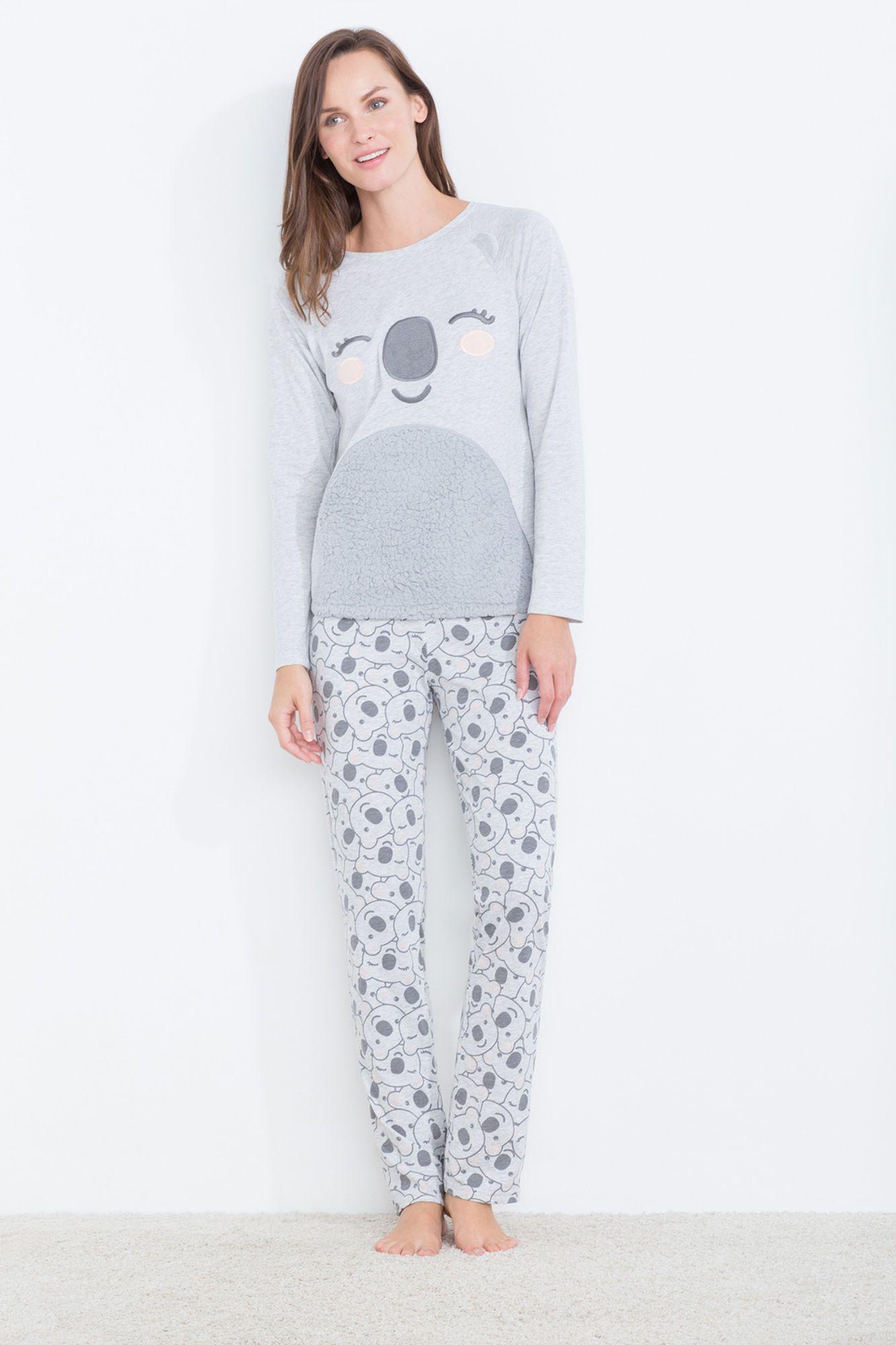 ac165e35c1 Pijama ultra suave compuesto por camiseta de manga larga con gráfico de  koala