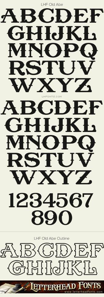 Letterhead Fonts LHF Old Abe Font Set Antique