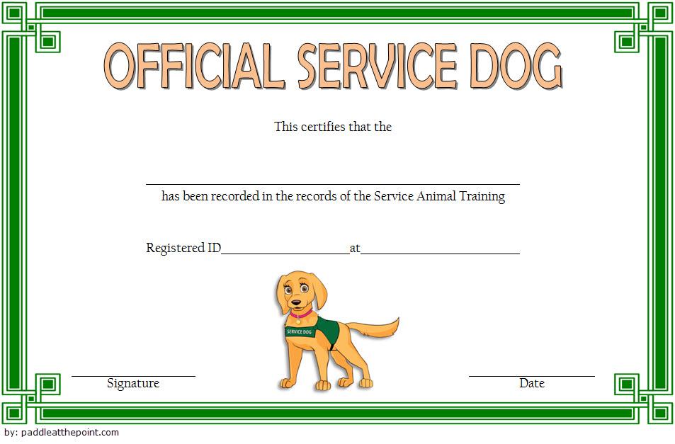 Service Dog Certificate Template 1 Templates Example Templates Example Service Dogs Certificate Templates Service Animal