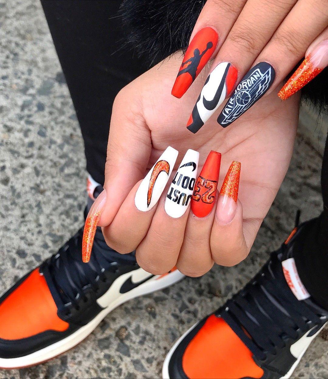 23 Jordan Nike Acrylicnailscoffin Sneaker Nails Nike Nails Sports Nails