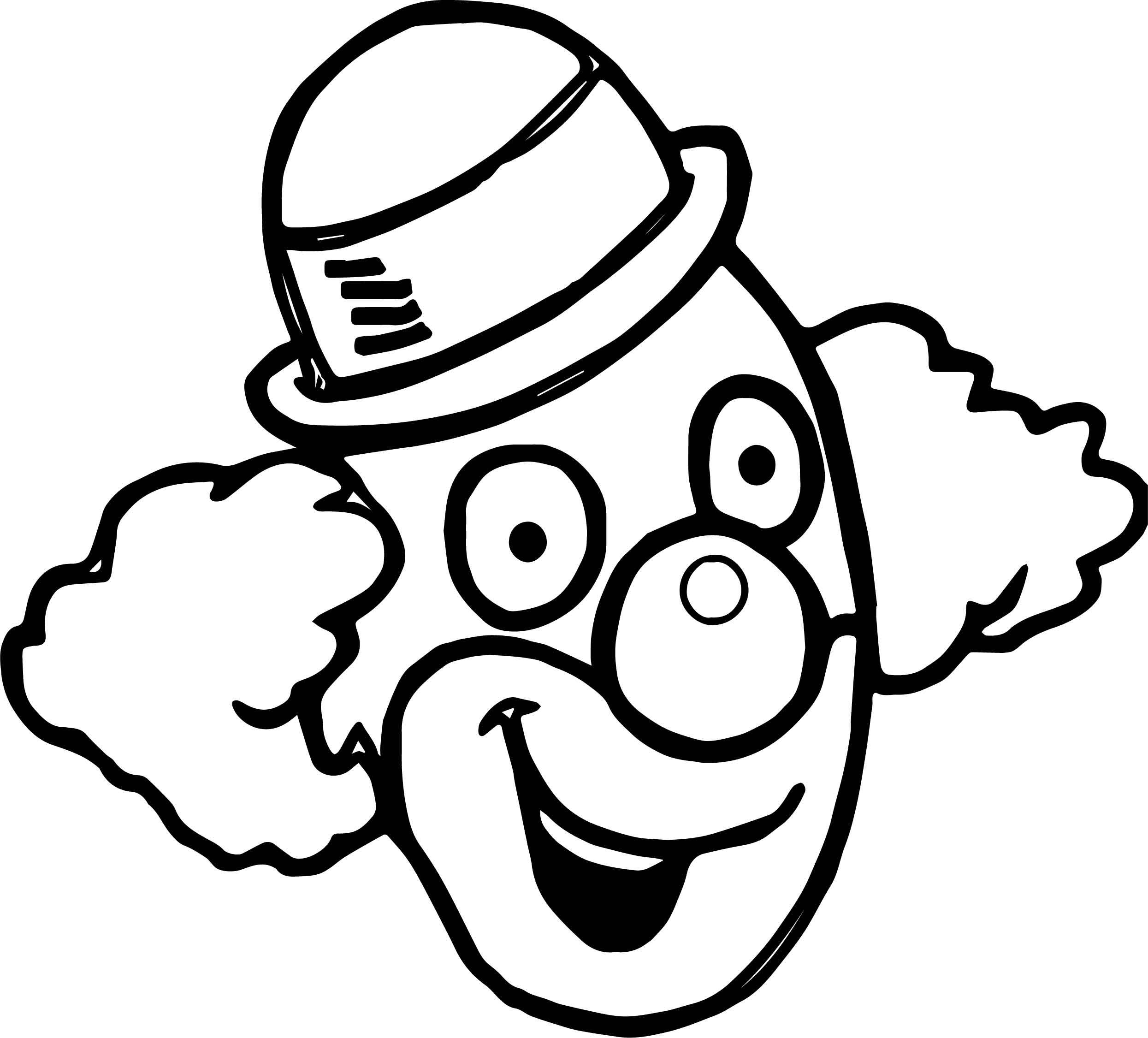 Awesome Happy Clown Face Coloring Page Scary Clown Drawing