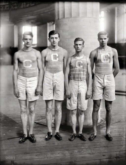 "New York. ""Columbia Relay Team, 1908. Capt. A. Zink, G.W. Hoyns, B. Sanders, K.M. Boorman."" @A Lifetime Legacy"