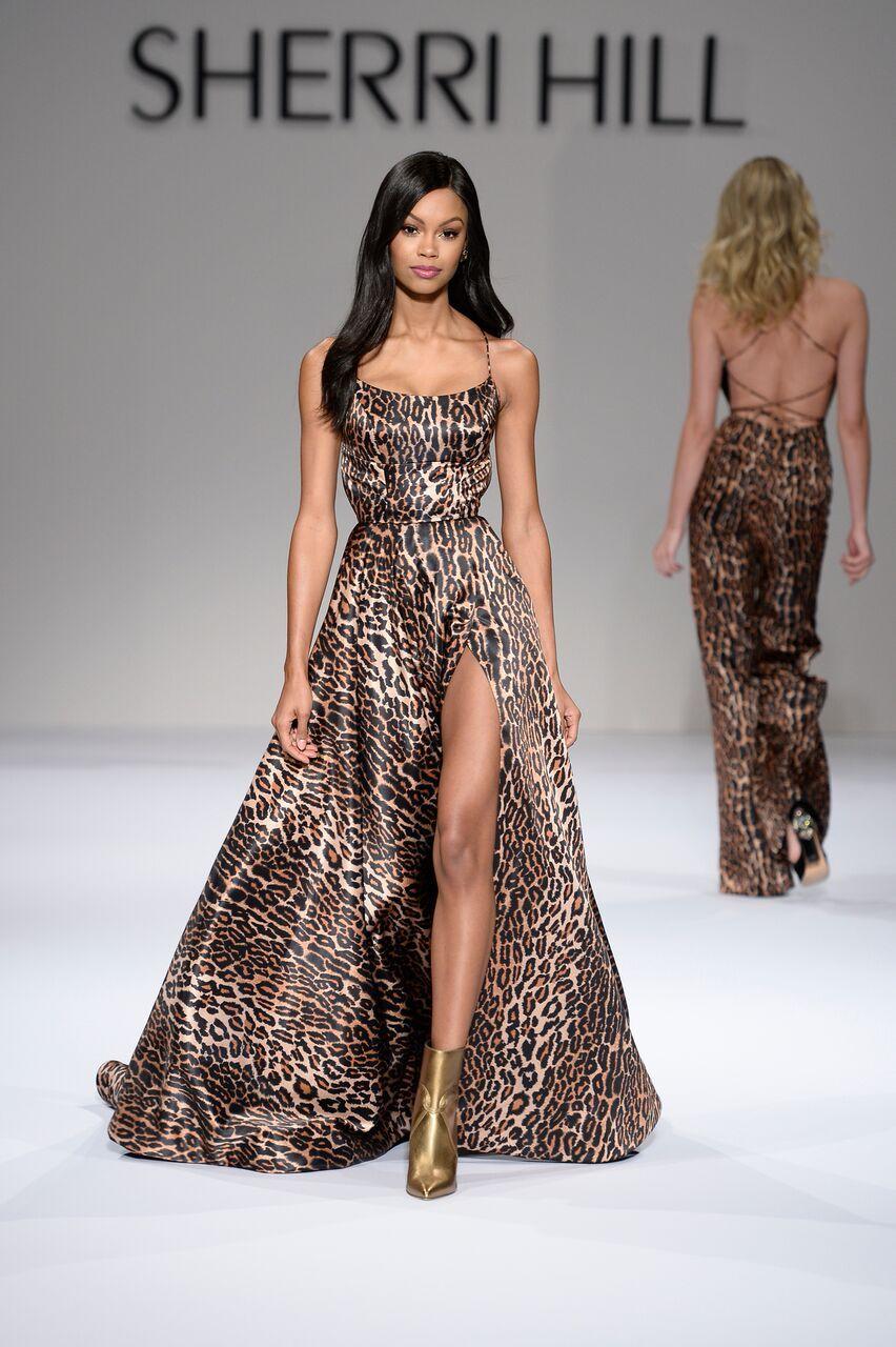 014fdd38903 Sherri Hill NYFW Runway Fashion Show Cheetah Print Leopard Print Flowy  Dress with slit Ypsilon Dresses Prom Pageant Evening Wear School Dance  Dresses Hoco ...