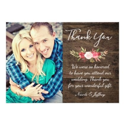 Rusty Rose Rustic Country Wedding Thank You Card Rustic Style