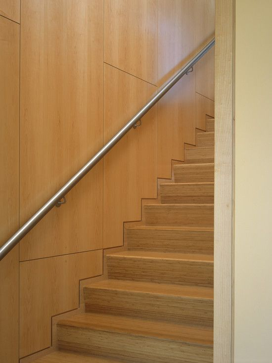 Inspiring Contemporary Exterior Blending with the Landscape : Modern Wood Staircase Design Metal Handle Gloucester House