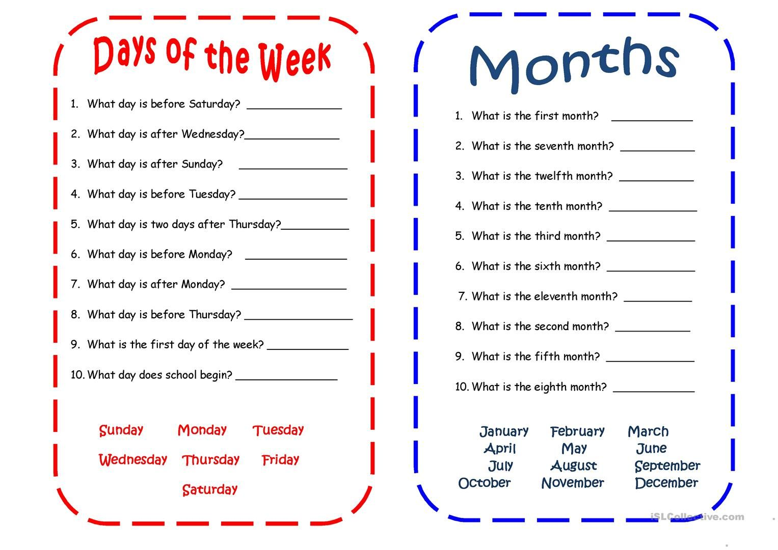 Days and Months worksheet - Free ESL printable worksheets made by teachers    English worksheets for kids [ 1080 x 1527 Pixel ]