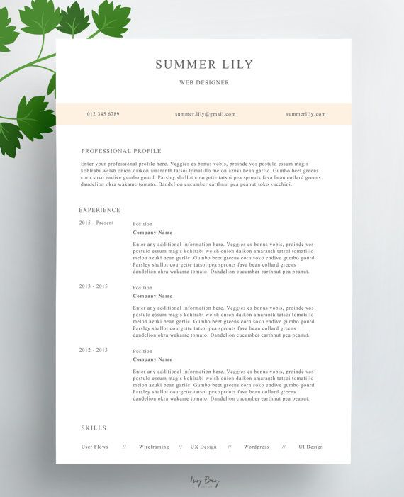 Simple Resume Template Cover Letter Cv Template Professional