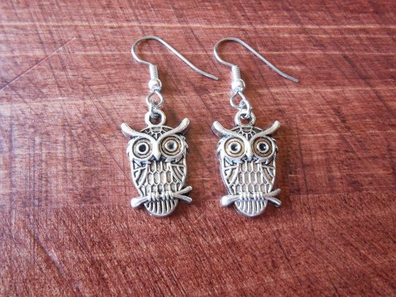 Owl Be Protecting You Silver Dangle Earring by FaeriesForNature