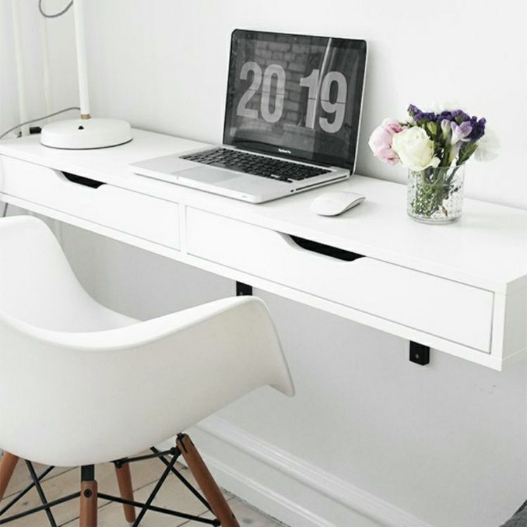 schreibtisch selber bauen aus einer konsole und regalhaltern basteln pinterest. Black Bedroom Furniture Sets. Home Design Ideas