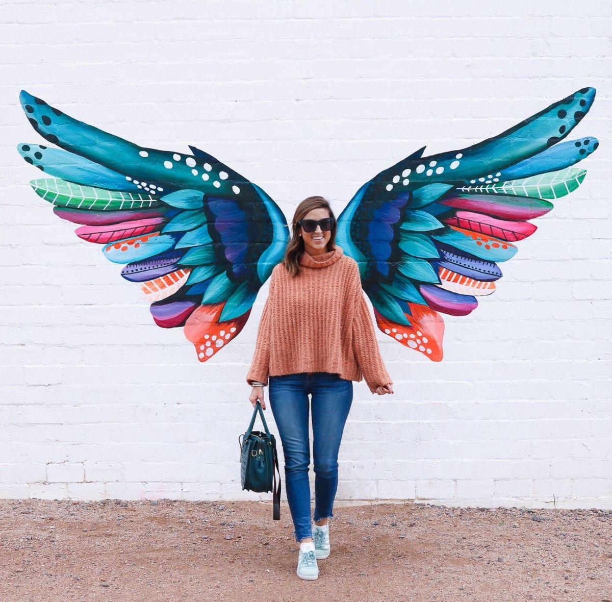 Murals In Phoenix Arizona Cobalt Chronicles Houston Travel Blogger Mural Wall Art Mural Angel Wings Art