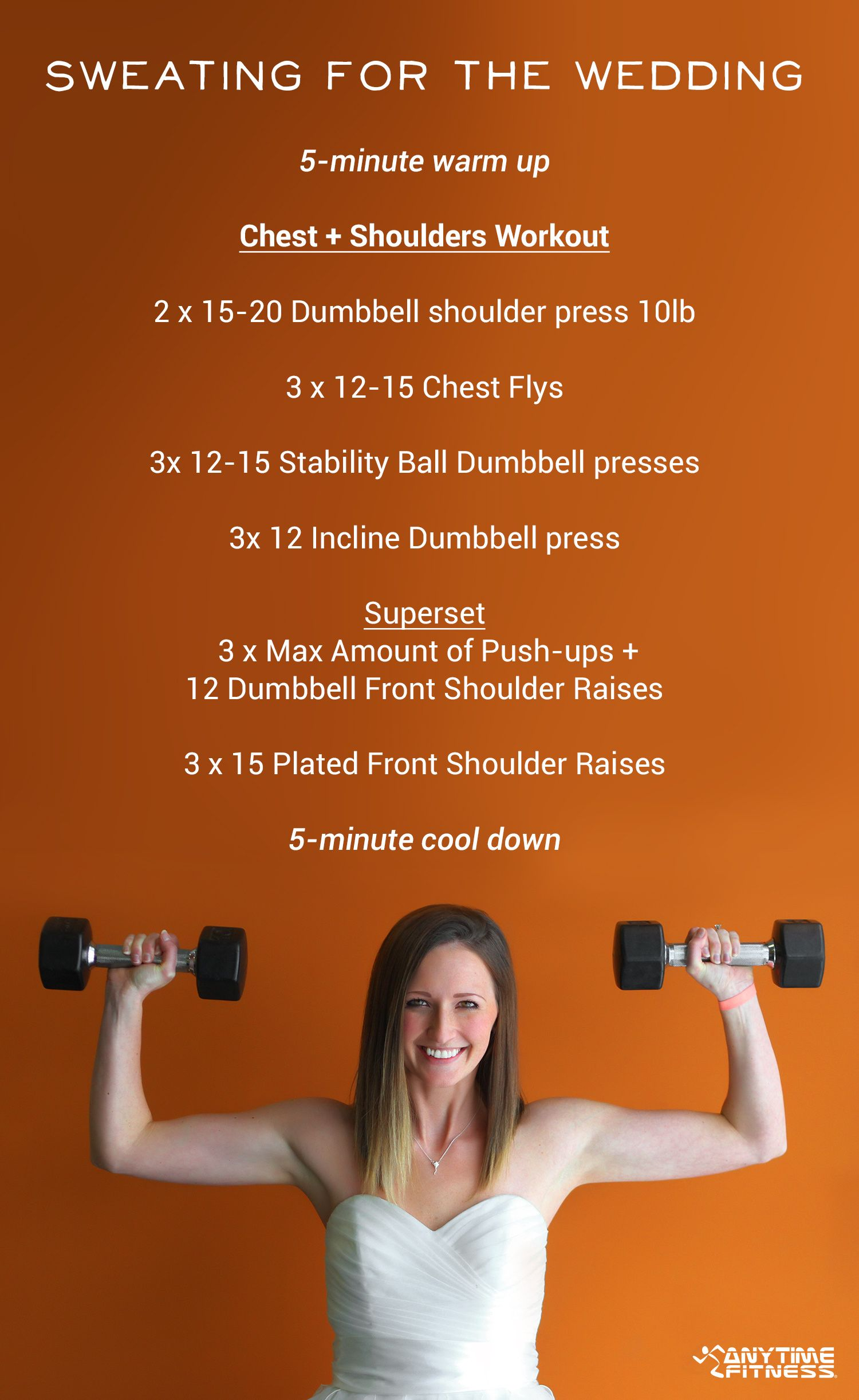 Perfect Wedding Dress Workout Chest And Shoulders Workout Sweatingforthewedding Chest And Shoulder Workout Shoulder Workout Good Arm Workouts
