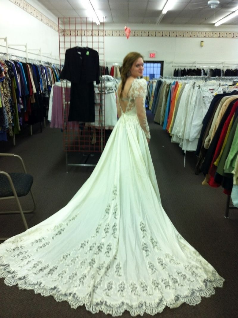 Surprising Thrift Wedding Dress 45 For Your Long Sleeve Lace Throughout Gorgeous