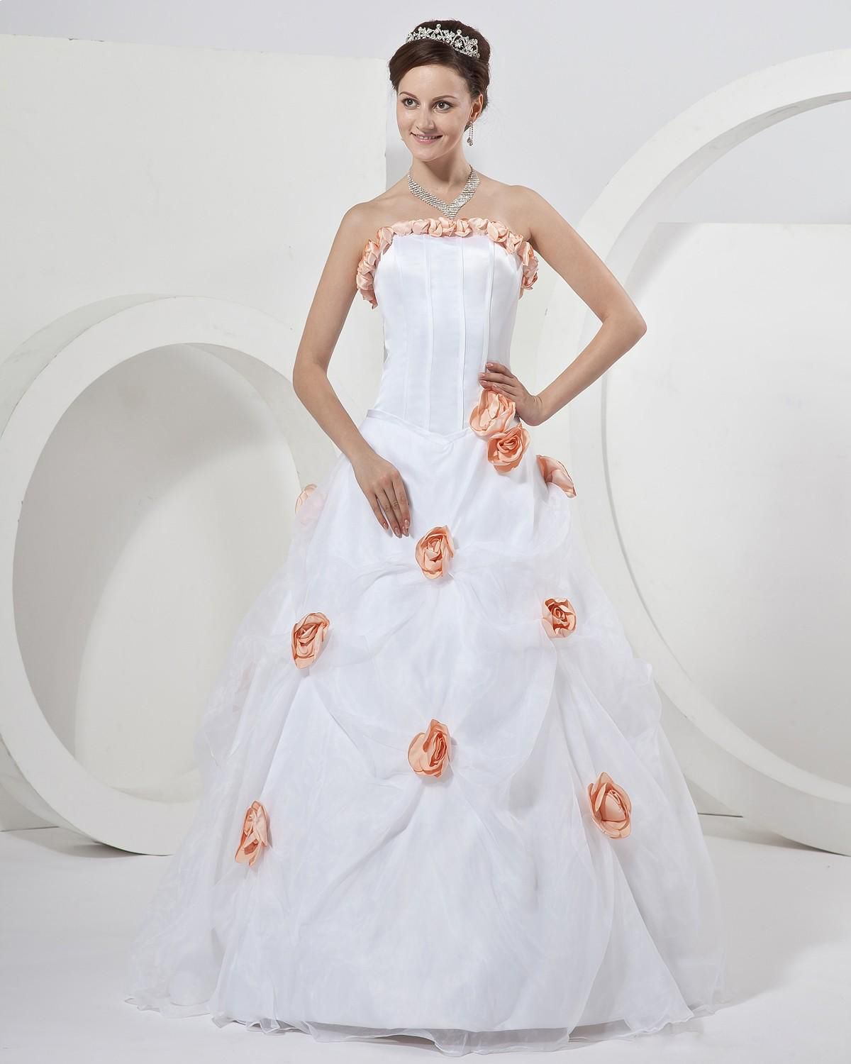 Different color wedding dresses  Flowers Strapless Wedding Dress Bridal Gown Read More