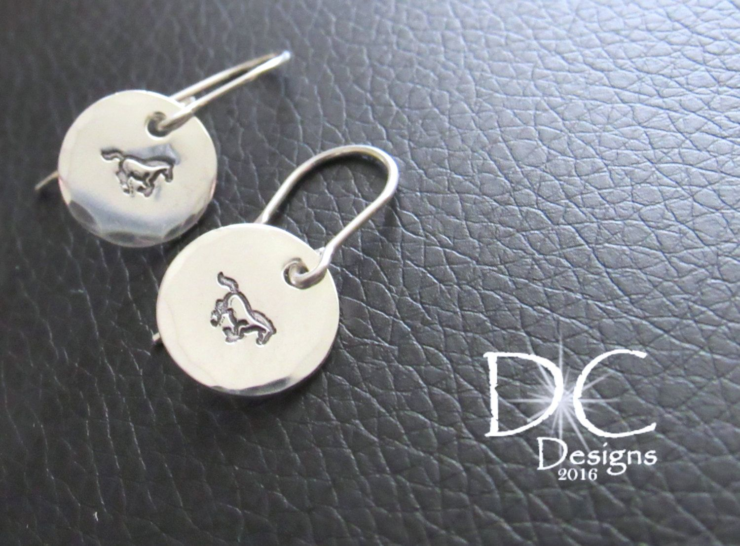 Sterling Silver Horse Earrings Jewelry Hand Stamped Gift For Her Lover By Damecreation