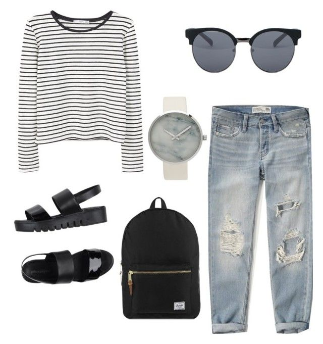 """""""Daily Outfit"""" by camilabonillac on Polyvore featuring Abercrombie & Fitch, MANGO, Jeffrey Campbell, Herschel Supply Co. and Quay"""