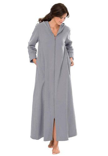 Dreams And Company Plus Size Hooded Fleece Knit Long Robe Dreams   Co  24.99 81a3f4ea1