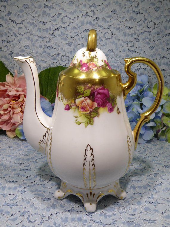Rare Royal Chelsea Golden Rose Coffee Pot or Tea Pot, Pink Rose Thick Wide Sponged Gold Teapot, Pedestal Foot Bone China Tea Pot England