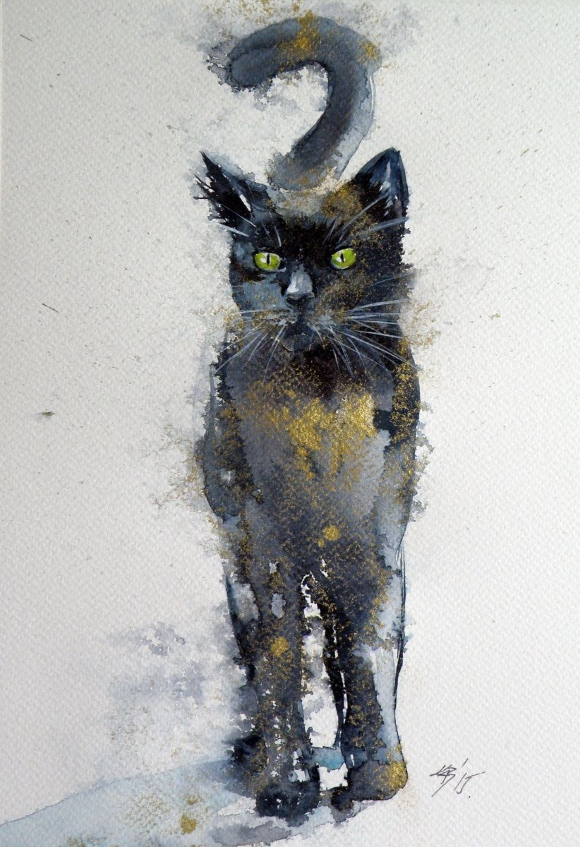 Epingle Par Draw Sur Watercolor Art De Chat Noir Illustration
