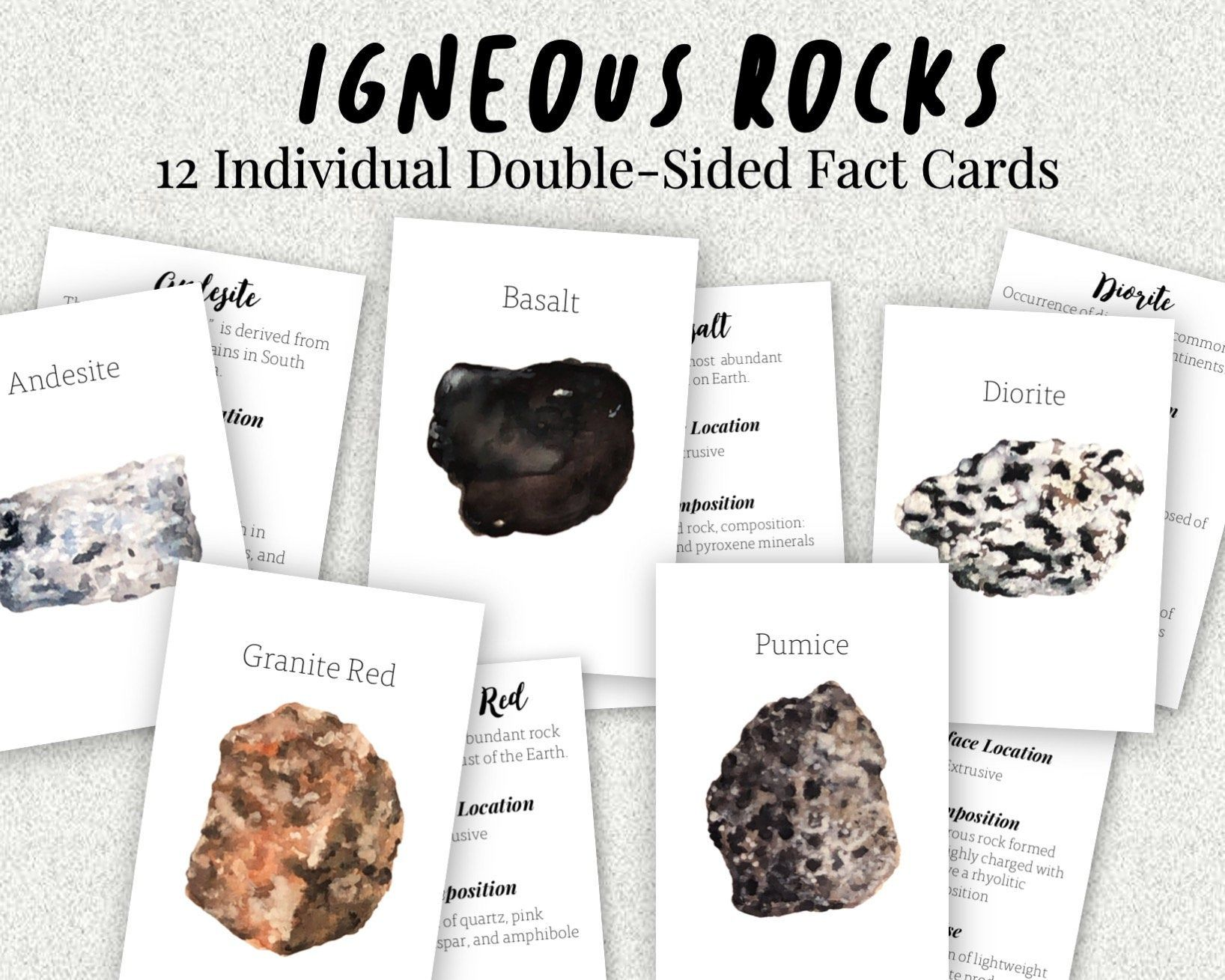 Igneous Rocks Individual Fact Cards Watercolor Volcanic Etsy In 2020 Igneous Igneous Rock Geology