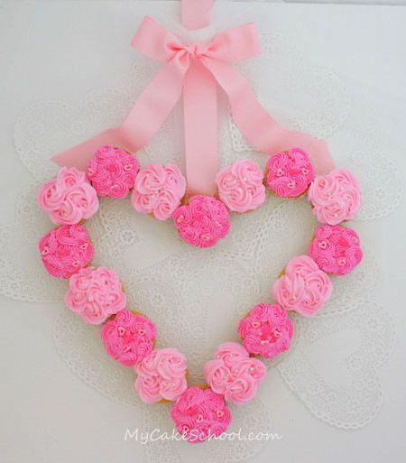 Cupcake Wreath  love the heart design