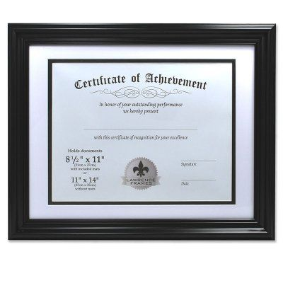 Lawrence Frames Dual Use Black Certificate Picture Frame 186011 Document Frame 11x14 Picture Frame Wood Picture Frames