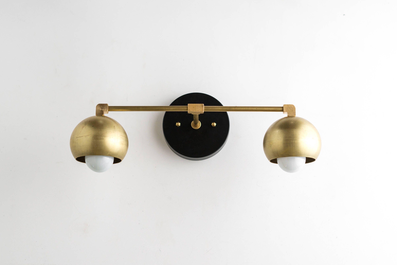 Photo of Gold Vanity Lights – Bathroom Lamp – Mid Century Bathroom – Brass Black Vanity – Mid Century Modern Fixture – Model No. 5469