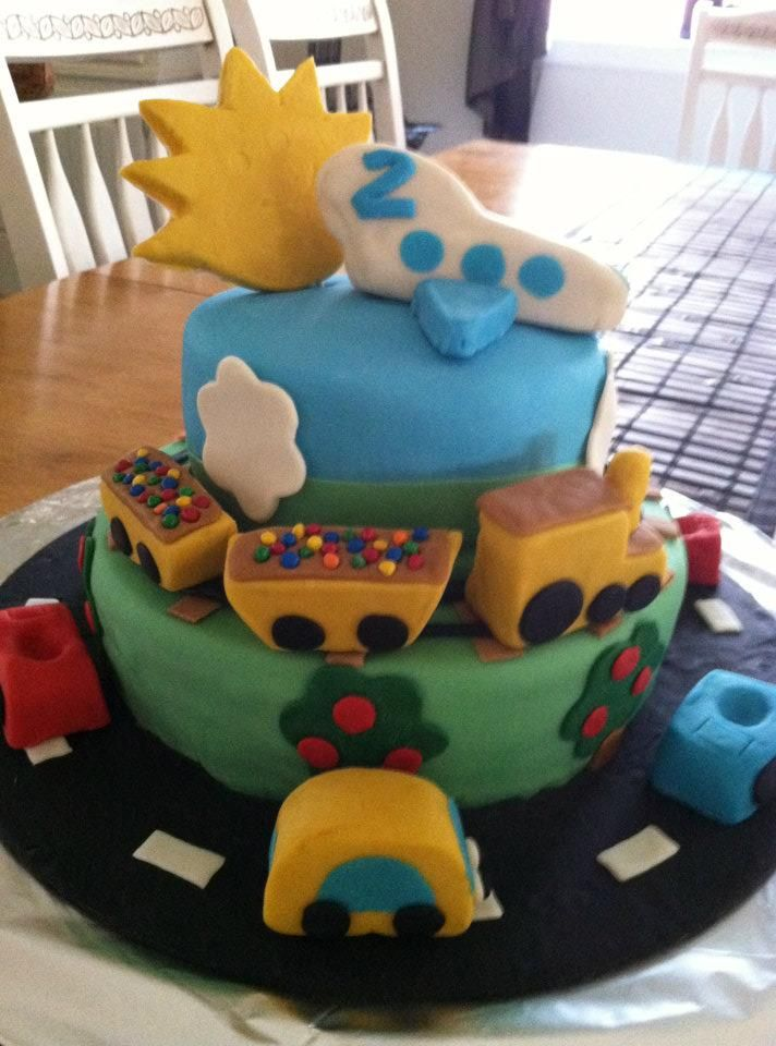 Airplanes, Trains and Cars 2 Yr. B'day Cake