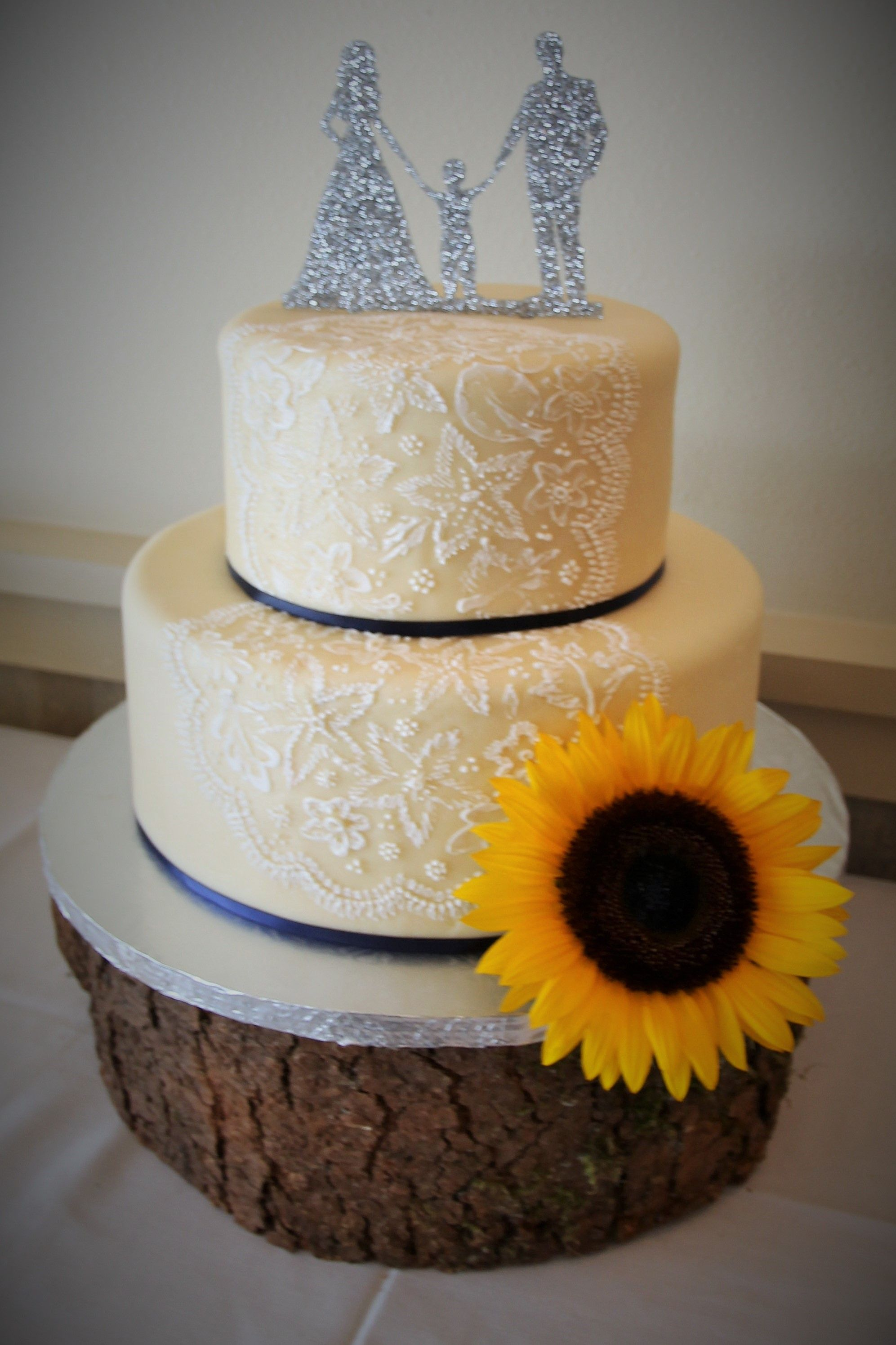 Simple Rustic Wedding Cake Sunflower Navy Blue And Yellow
