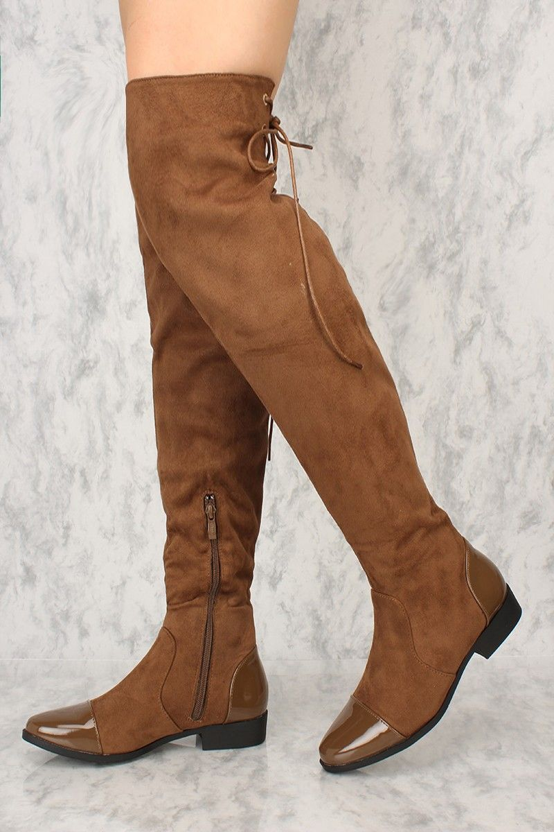 2ff539193cb Sexy Brown Faux Leather Patent Detailing Round Toe Thigh High Boots Faux  Suede